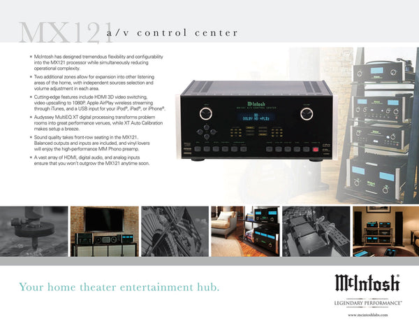 McIntosh MX121 Home Theater Processor - Dolby True HD, DTS-HD - Phono Input