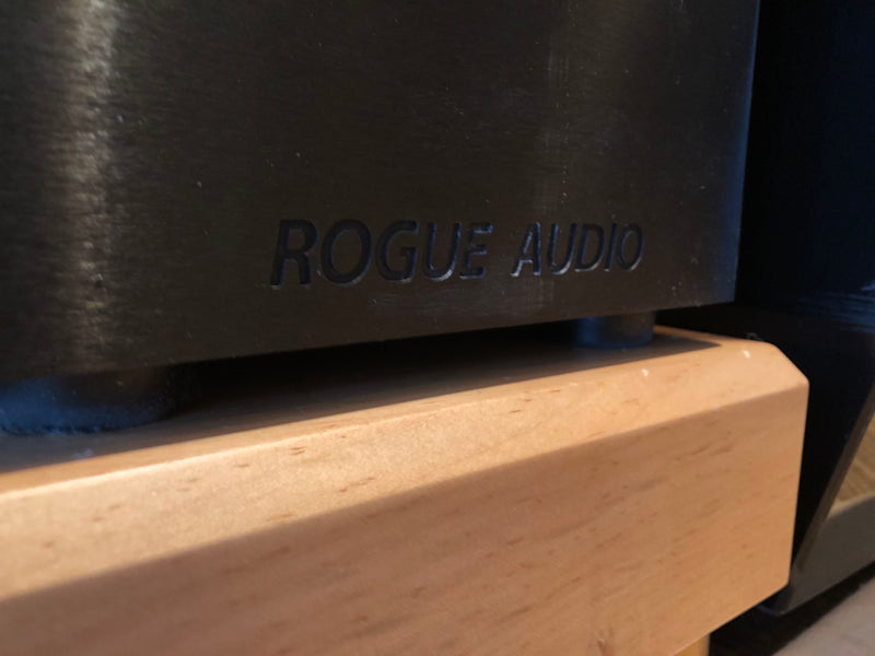 Rogue Audio Apollo Dark Tube Monoblocks with Custom Mapleshade Plinths