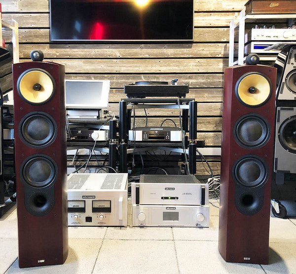 B&W (Bowers & Wilkins) Nautilus 804 Floorstanding Speakers - Gorgeous Red Stained Cherrywood
