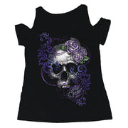 Purple Flower Skull Shoulder Peak Shirt