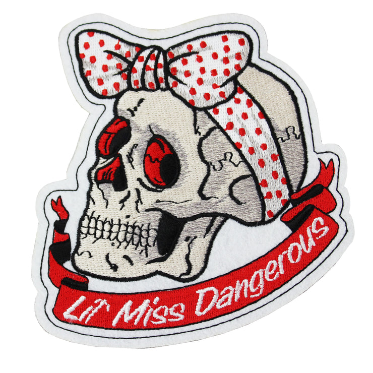 Polka Dot Ribbon Skull Embroidered Patch