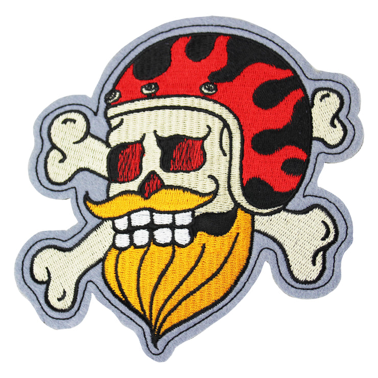 Bearded Biker Embroidered Patch