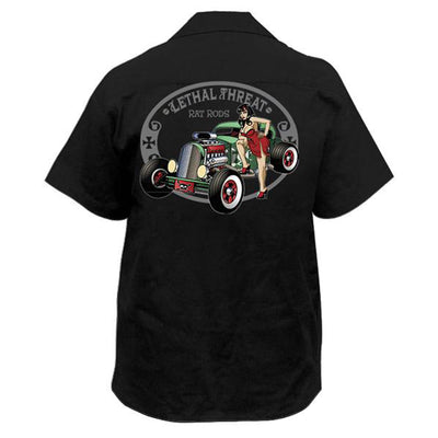 Rat Rod Pin Up Girl Embroidered Work Shirt / Shop Shirt