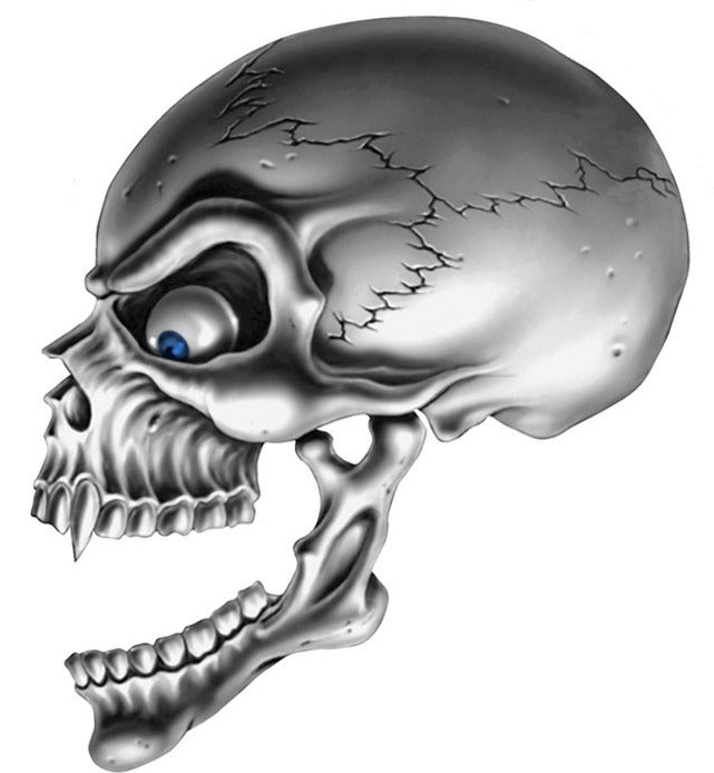 Skull Left Blue Eyes Decal