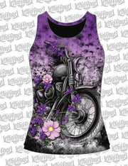 Flower Motorcycle Razor Back Tank Top