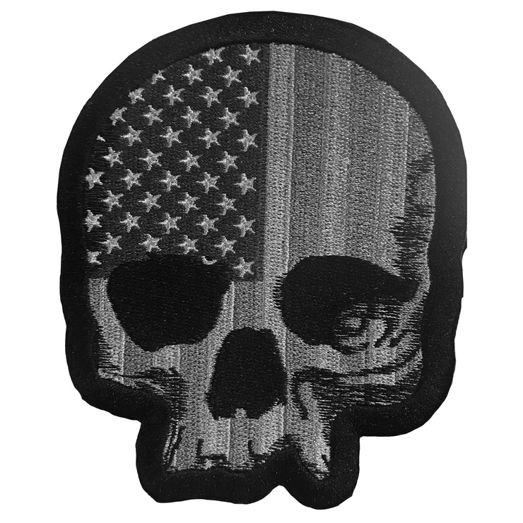 USA Gray Tactical Skull Embroidered Patch