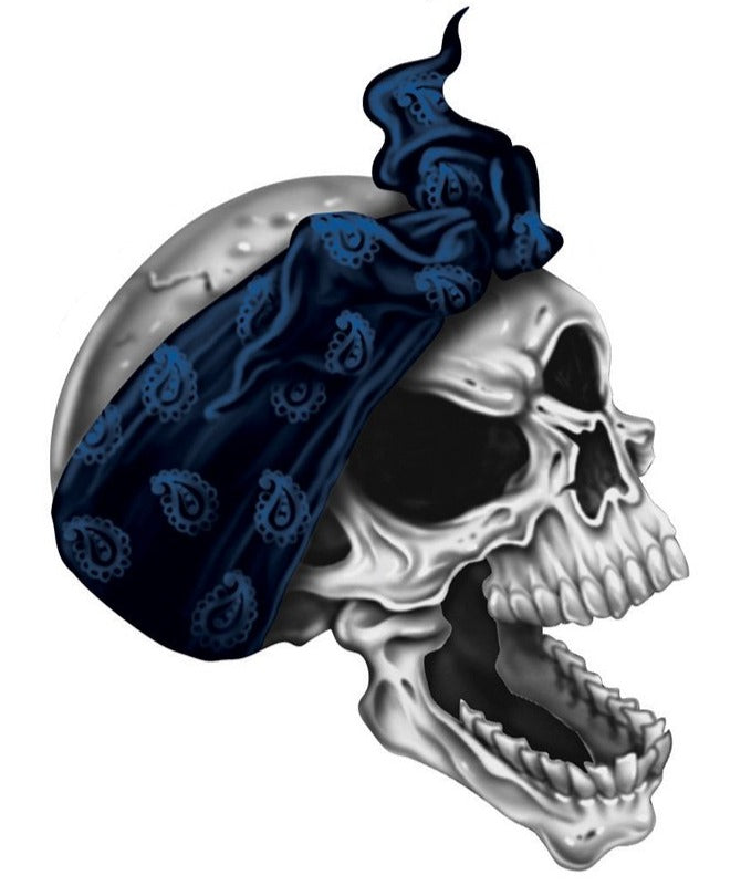 Blue Bandana Right Facing Skull Decal