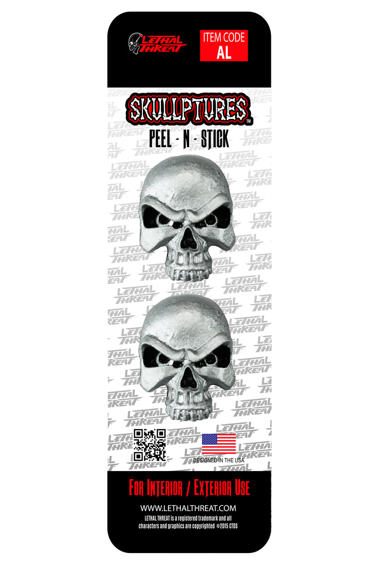 Sliver Skull 3D Stick Ons - Two Per Pack