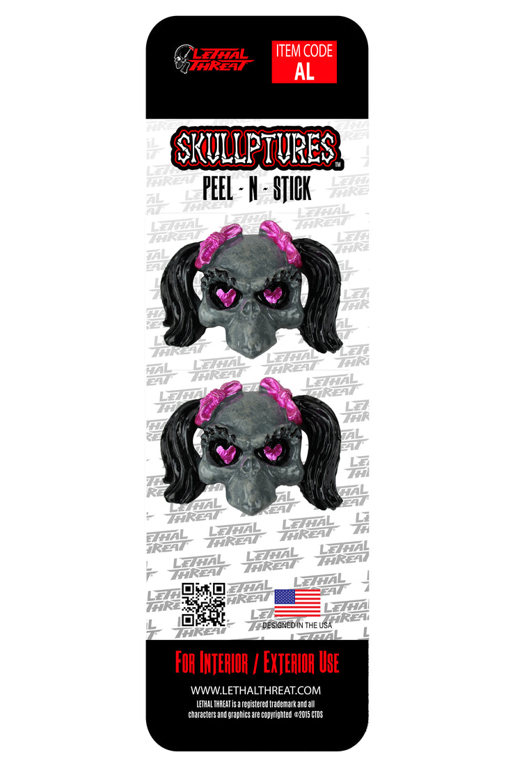 Girl Skull 3D Stick Ons- 2 per pack