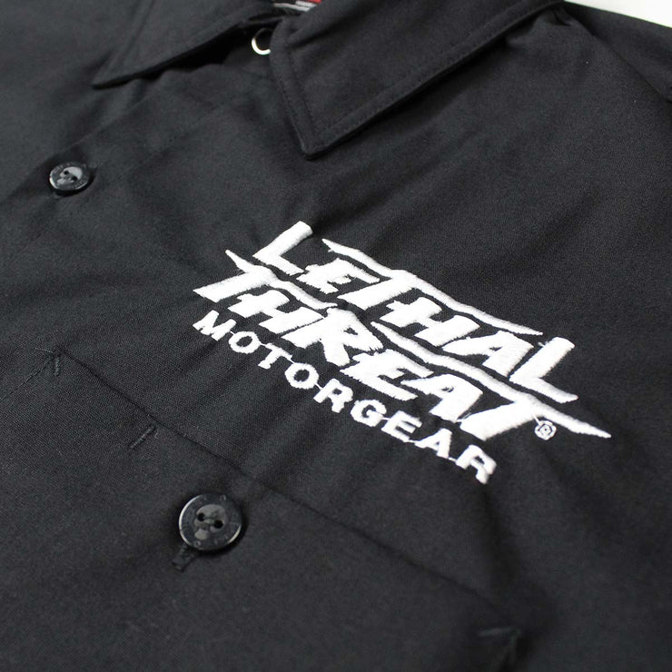 Front End Handlebar Skull Embroidered Work Shirt