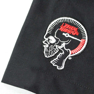 Skull Handlebar Embroidered Work Shirt