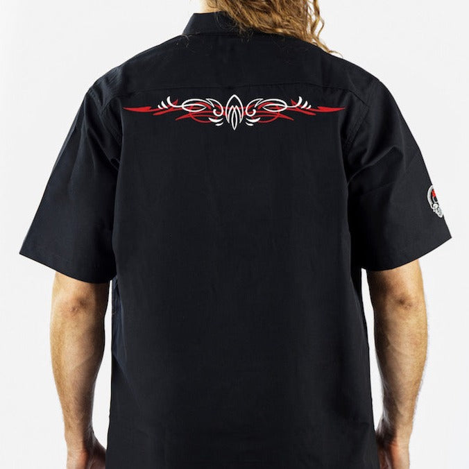 Winged Eyeball Monster Embroidered Work Shirt / Shop Shirt