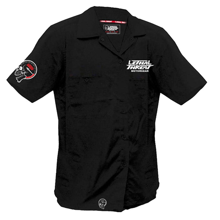 Bikes & Hot Rods Skull Racers Embroidered Work Shirt