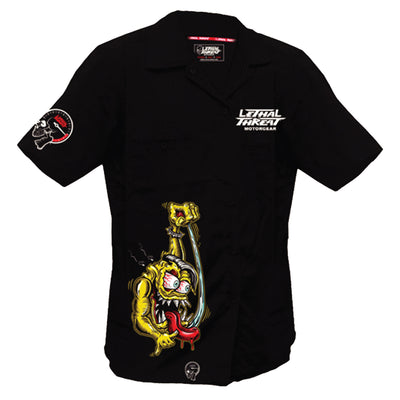Shifter Kustom Kulture Monster Embroidered Work Shirt / Shop Shirt