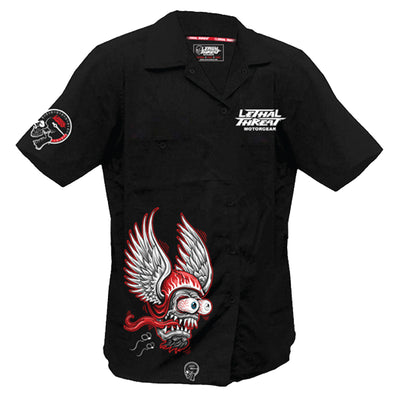 Winged Helmet Monster Embroidered Work Shirt / Shop Shirt