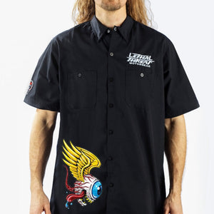 Eyeball Monster Embroidered Work Shirt