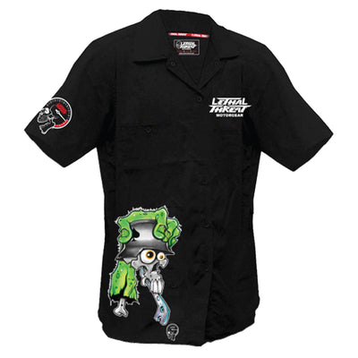 Skull Monster Shifter Embroidered Work Shirt / Shop Shirt