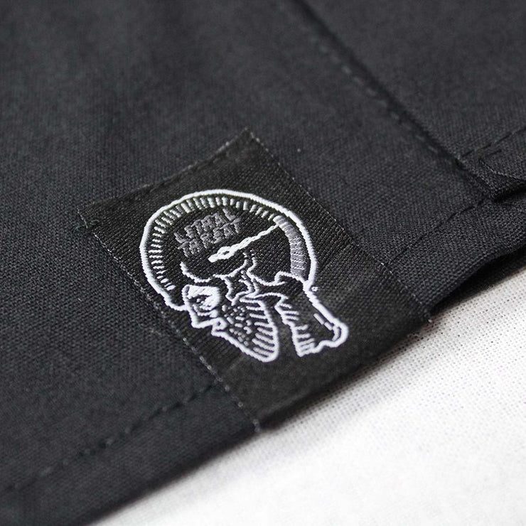 Pinstripe Flying Winged Eyeball  Embroidered Work Shirt / Shop Shirt