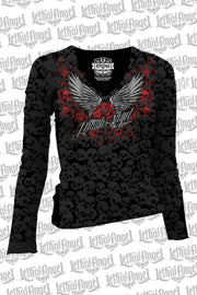 Rose Wing Scroll Long Sleeve Shirt