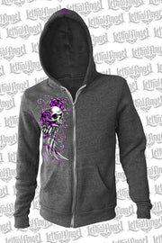 Embroidered Wing Skull Hoodie