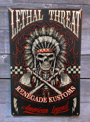 Renegade Kustoms Skull Vintage Metal Sign