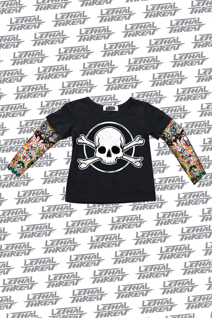 Skull & Bones Kid's Tattoo Sleeve Shirt