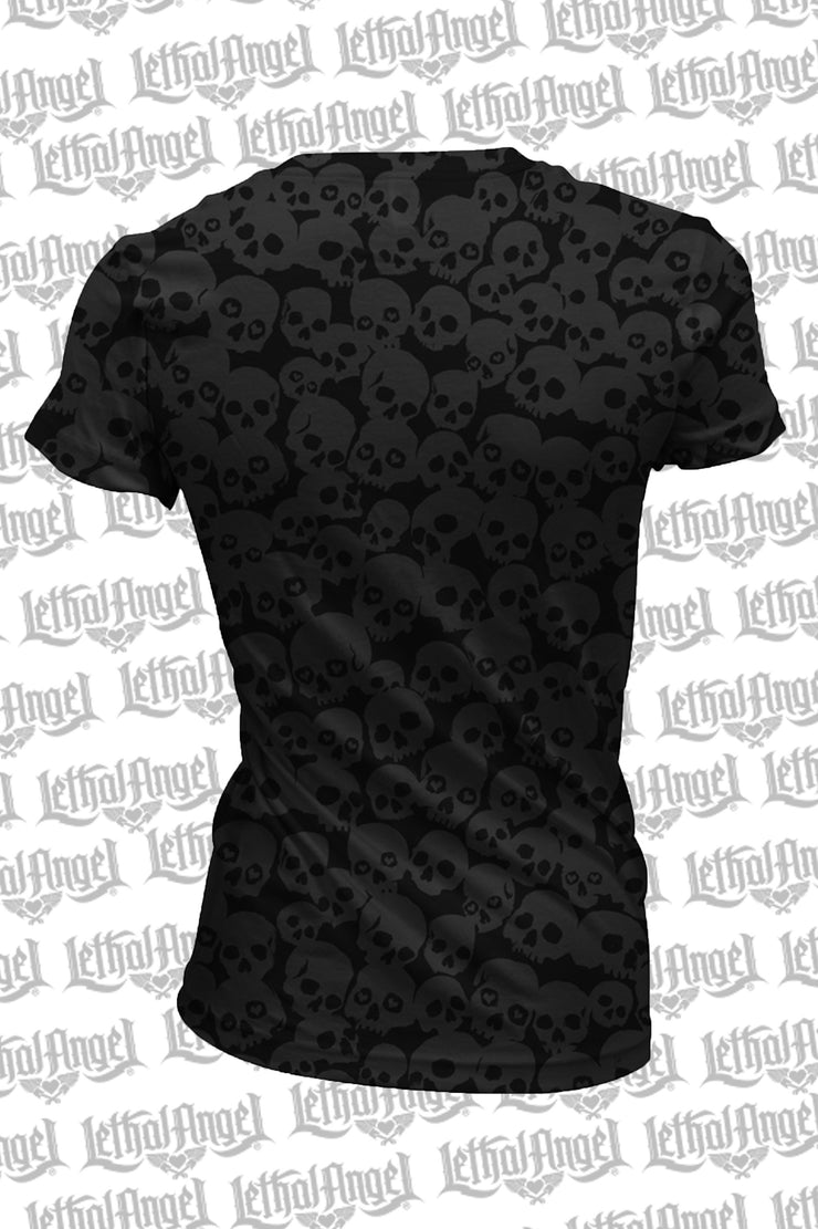 Skull Burn Out V-Neck Tee Shirt - No graphics