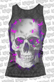 Dragonfly Skull Burn Out Razor Back Tank Top