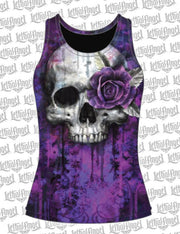 One Eye Rose Skull Razor Back Tank Top