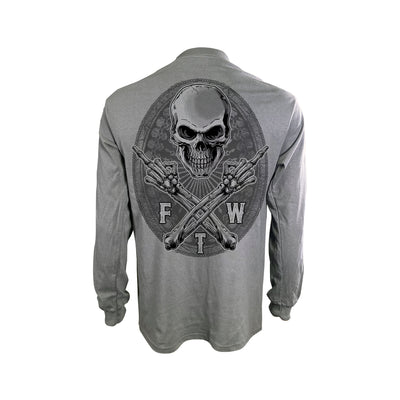 FTW Skull Gray Long Sleeve Men's Shirt