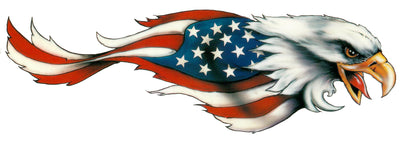 USA Flag Feathers Eagle Right Facing Decal