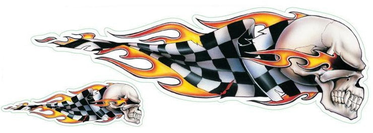 Checkered Flag Skull Right Facing Decal