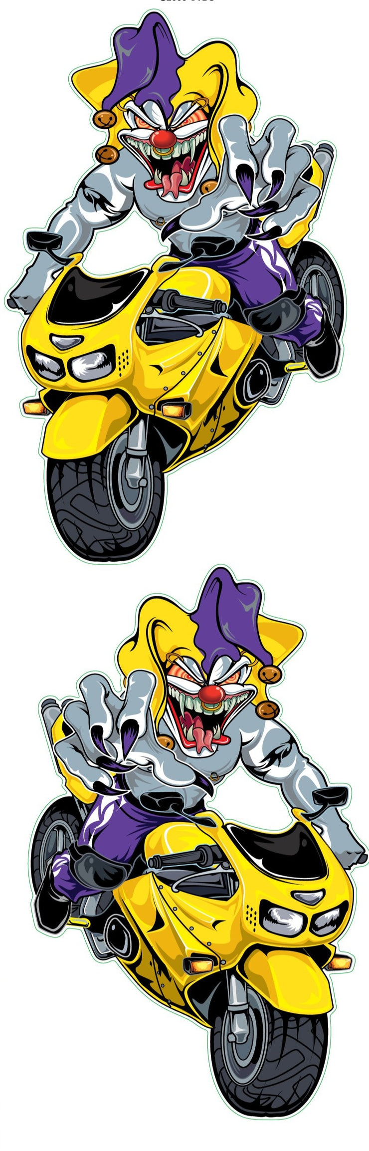 Jester Yellow Sport Biker Decal