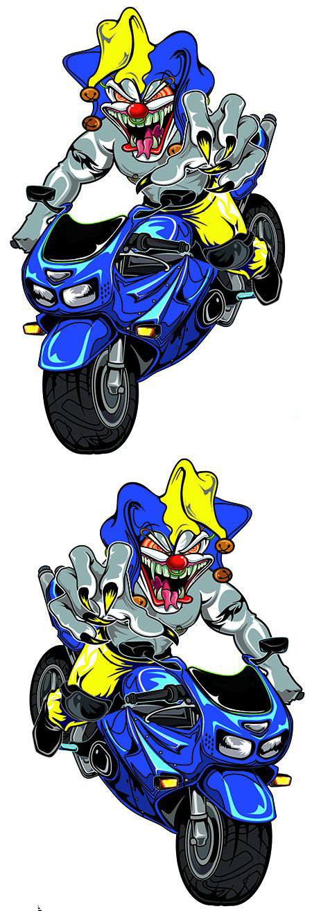 Blue Sport Bike Jester Biker Decal