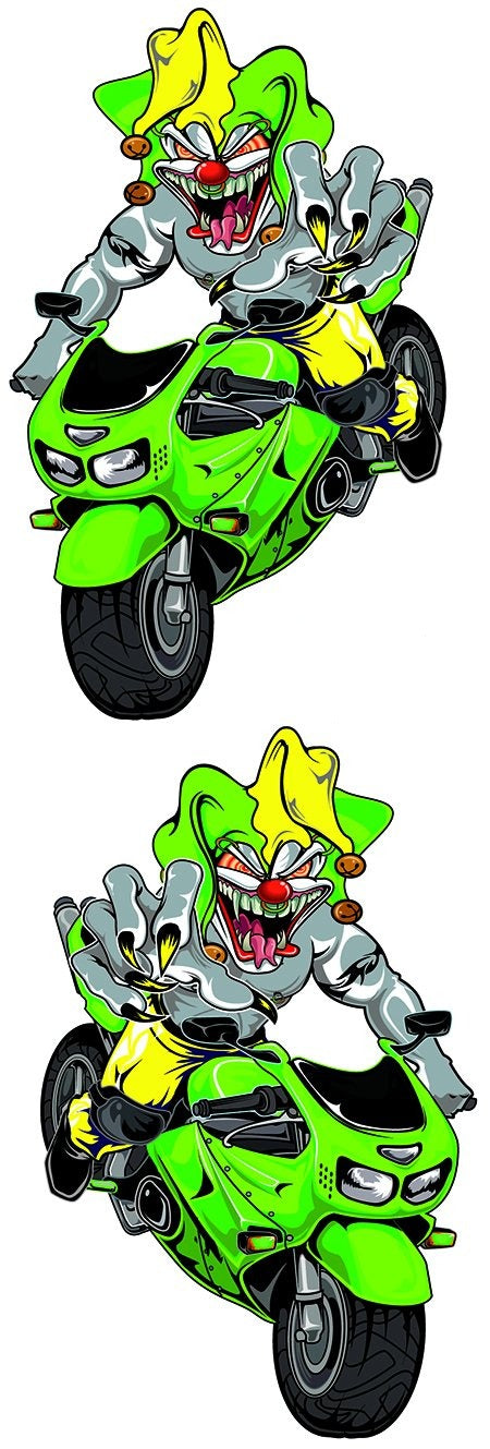 Green Sport Bike Jester Biker Decal
