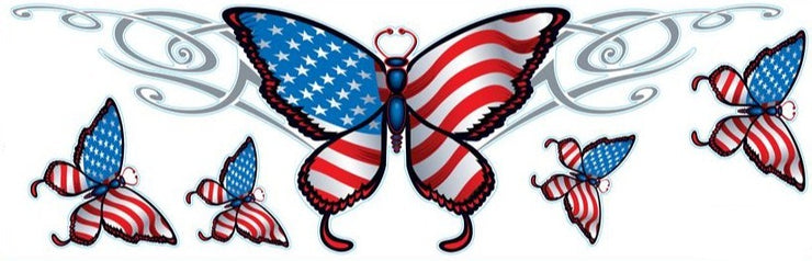USA Flag Butterfly Decal