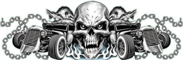 Rat Rod Highway Skull Decal