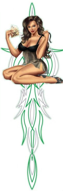 Pinstripe Feelin Lucky Pin Up Girl Decal Decal
