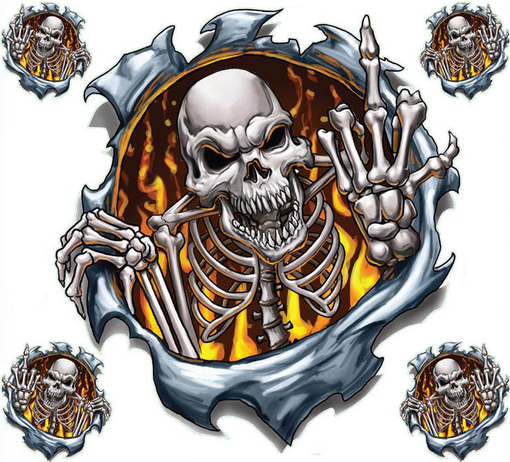 Flip The Bird / Give The Finger Skull Large Decal