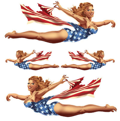Vintage Nose Art USA Pinup Girl Large Decal