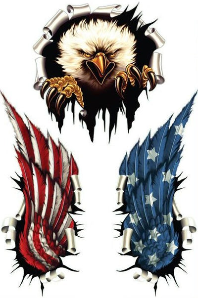 USA Rip Eagle USA Flag Wings Decal Kit
