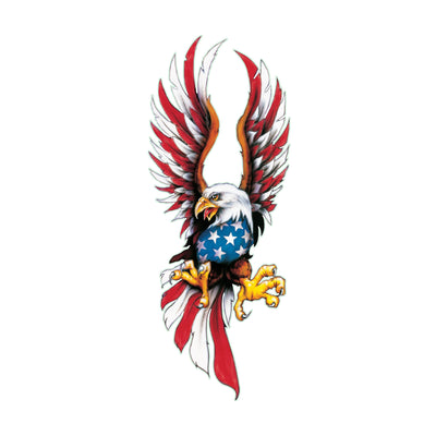 Center USA Flag Feather Eagle Large Decal
