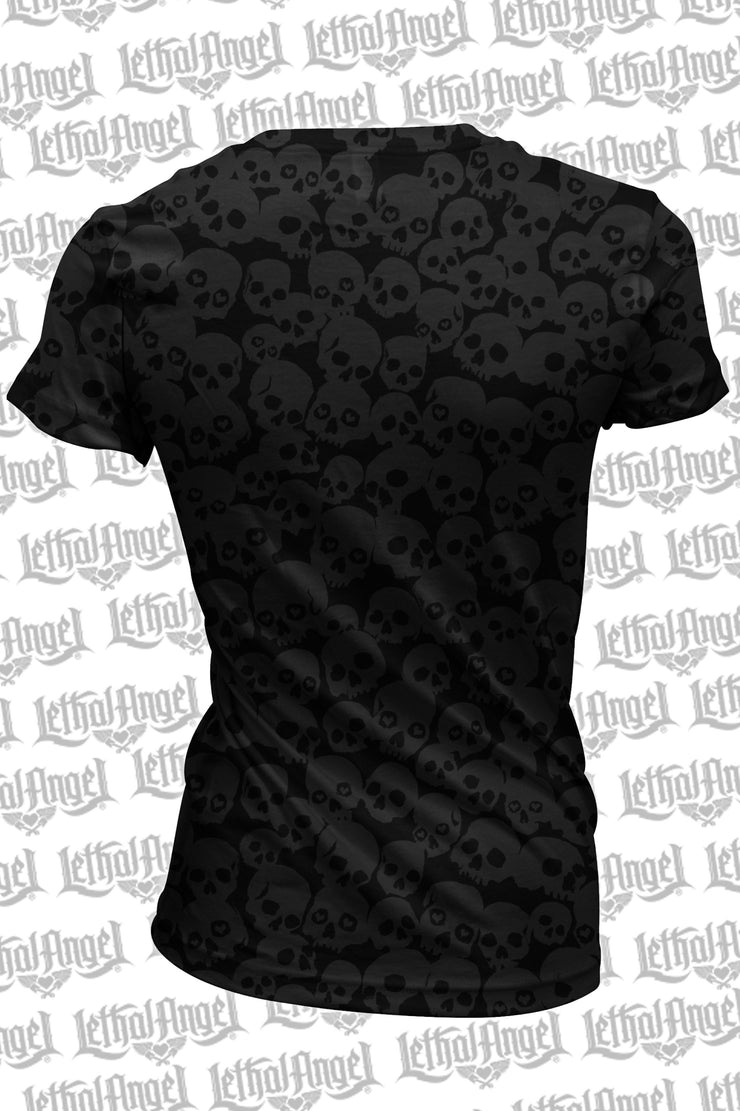 Lip Skull Burn Out Scoop Neck Tee