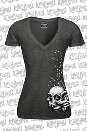 Wing Skull Burn Out Scoop Neck Tee