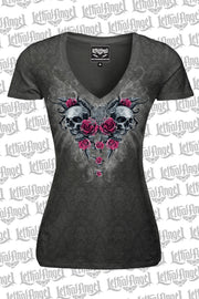 Twin Rose Skulls Burn Out V Neck Tee