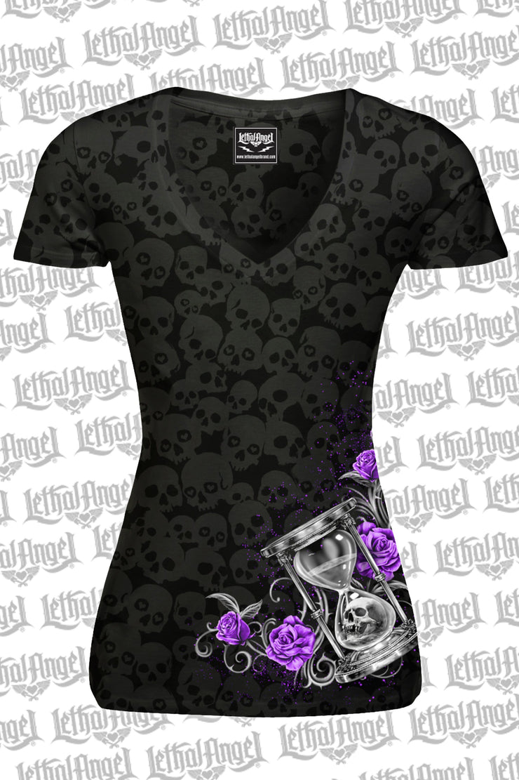 Hourglass Skull Burnout V Neck Tee