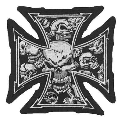 Gray Iron Cross Skull Embroidered Patch