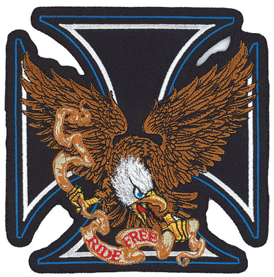 Ride Free Iron Cross Eagle Embroidered Patch