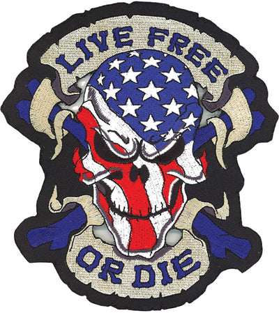 Live Free or Die Skull Embroidered Patch
