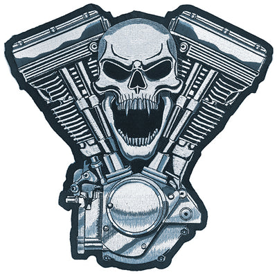 Skull Motor V Twin Embroidered Patch